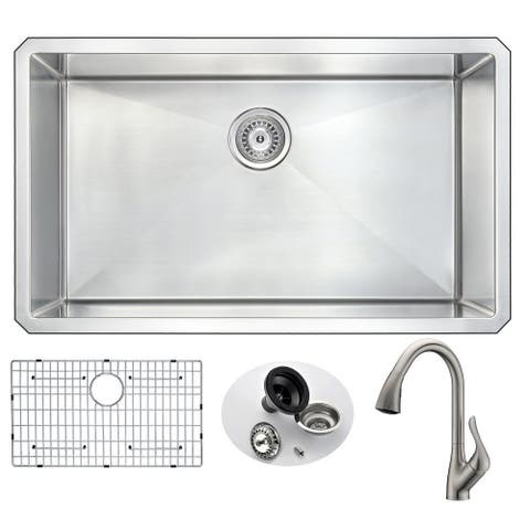 """ANZZI Vanguard 32"""" Undermount Single Bowl Kitchen Sink with Nickel Accent Faucet"""