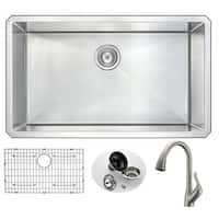 Anzzi Vanguard Undermount Stainless Steel 32-inch 0-hole Single Bowl Kitchen Sink with Accent Faucet in Brushed Nickel