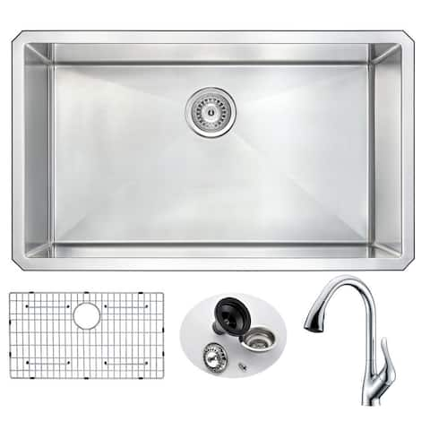 """ANZZI Vanguard 32"""" Undermount Single Bowl Kitchen Sink with Chrome Accent Faucet"""