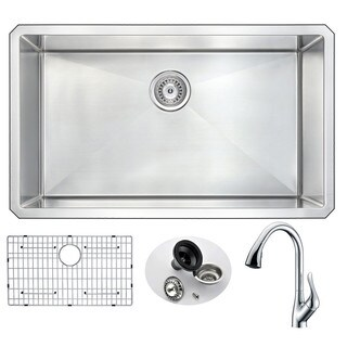 Anzzi Vanguard Undermount Polished Chrome Stainless Steel 32-inch 0-Hole Single Bowl Kitchen Sink With Accent Faucet