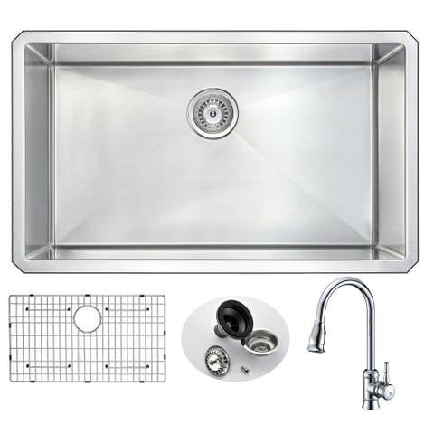 "ANZZI Vanguard 32"" Undermount Single Bowl Kitchen Sink with Chrome Sails Faucet"