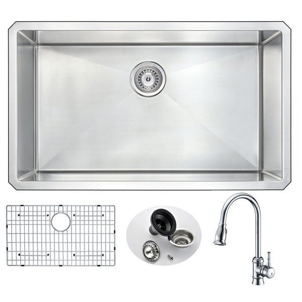 """ANZZI Vanguard 32"""" Undermount Single Bowl Kitchen Sink with Chrome Sails Faucet. Opens flyout."""