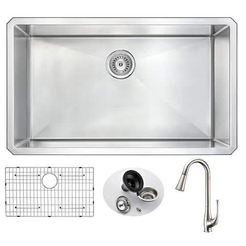 "ANZZI Vanguard 32"" Undermount Single Bowl Kitchen Sink and Nickel Singer Faucet"