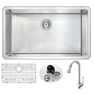 Anzzi Vanguard Stainless Steel and Brushed Nickel Singer Faucet 32-inch 0-hole Undermount Single-bowl Kitchen Sink