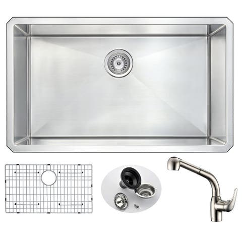 ANZZI Vanguard Silvertone Stainless Steel Undermount Single-bowl Kitchen Sink with Harbour Faucet