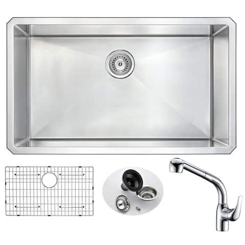 "ANZZI Vanguard 32"" Undermount Single Bowl Kitchen Sink with Chrome Harbour Faucet"