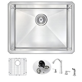 Anzzi Vanguard Stainless Steel and Polished Chrome Soave Faucet 23-inch Undermount Single-bowl Kitchen Sink