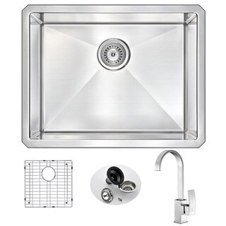 ANZZI VANGUARD Undermount Stainless Steel 23 in. Single Bowl Kitchen Sink and Faucet Set with Brushed Nickel Opus Faucet