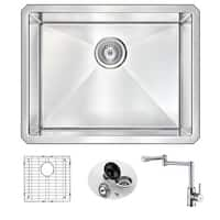 Anzzi Vanguard Undermount Polished Chrome Stainless Steel 23-inch Single Bowl Kitchen Sink and Manis Faucet Set