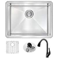 Anzzi Vanguard Stainless Steel 23-inch Undermount Single Bowl Kitchen Sink With Accent Oil Bronze Faucet