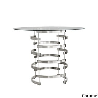 Nova Round Glass Top Vortex Iron Base Counter Height Table by iNSPIRE Q Bold