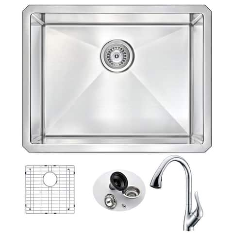 ANZZI Vanguard Undermount Polished Chrome Stainless Steel 23-inch Single Bowl Kitchen Sink and Accent Faucet Set