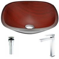 ANZZI Cansa Series Rich Timber Deco-Glass Vessel Sink with Enti Polished Chrome Faucet