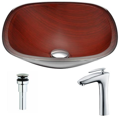 ANZZI Cansa Series Rich Timber Deco-Glass Vessel Sink with Crown Polished Chrome Faucet