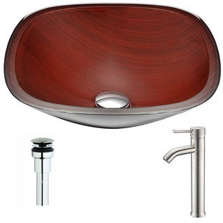 ANZZI Cansa Series Rich Timber Deco-Glass Vessel Sink with Fann Chrome Faucet
