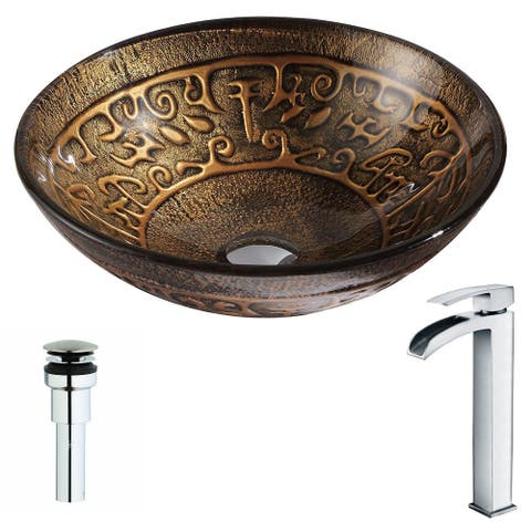 ANZZI Alto Series Lustrous Brown Deco-Glass Vessel Sink with Key Polished Chrome Faucet
