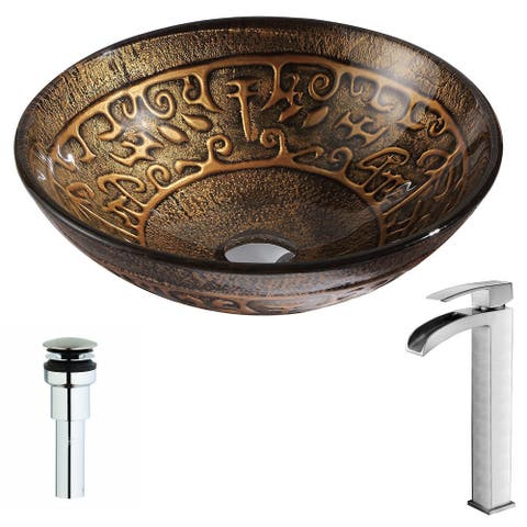 Anzzi Alto Series Deco-glass Vessel Sink in Lustrous Brown with Fann Faucet in Brushed Nickel