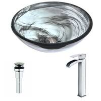 ANZZI Mezzo Series Slumber Wisp Deco-Glass Vessel Sink with Key Polished Chrome Faucet