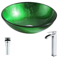 ANZZI Melody Series Lustrous Green Deco-Glass Vessel Sink with Key Polished Chrome Faucet