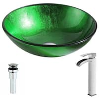 ANZZI Melody Series Lustrous Green Deco-Glass Vessel Sink with Key Brushed Nickel Faucet