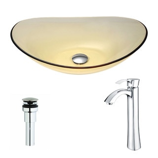 ANZZI Mesto Series Deco-Glass Gold Vessel Sink with Chrome Faucet