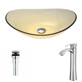 ANZZI Mesto Series Lustrous Translucent Gold Deco-Glass Vessel Sink with Harmony Brushed Nickel Faucet