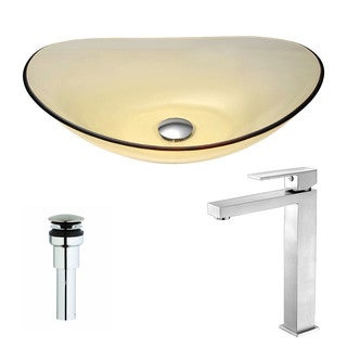 ANZZI Mesto Series Lustrous Translucent Gold Deco-Glass Vessel Sink with Enti Brushed Nickel Faucet