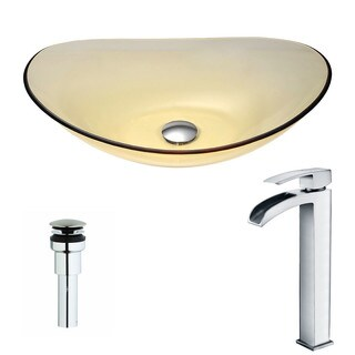 ANZZI Mesto Series Lustrous Translucent Gold Deco-Glass Vessel Sink with Key Polished Chrome Faucet