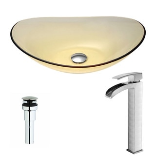 ANZZI Mesto Series Lustrous Translucent Gold Deco-Glass Vessel Sink with Key Brushed Nickel Faucet