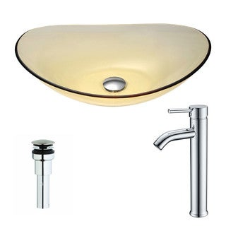 ANZZI Mesto Series Lustrous Translucent Gold Deco-Glass Vessel Sink with Fann Chrome Faucet
