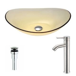 ANZZI Mesto Series Lustrous Translucent Gold Deco-Glass Vessel Sink with Fann Polished Chrome Faucet