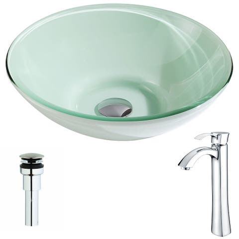 ANZZI Sonata Series Lustrous Light Green Deco-Glass Vessel Sink with Harmony Polished Chrome Faucet