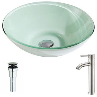 Anzzi Sonata Series Deco-glass Vessel Sink in Lustrous Light Green with Fann Faucet in Polished Chrome