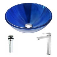 ANZZI Meno Series Lustrous Blue Deco-Glass Vessel Sink with Enti Brushed Nickel Faucet
