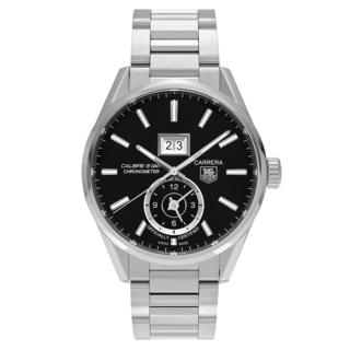Tag Heuer Men's 'Carrera' WAR5010.BA0723 Stainless Steel Black Dial Link Bracelet Watch