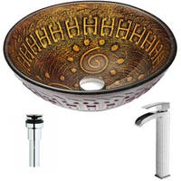 ANZZI Opus Series Lustrous Brown Deco-Glass Vessel Sink with Key Brushed Nickel Faucet
