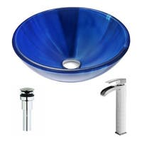 ANZZI Meno Series Lustrous Blue Deco-Glass Vessel Sink with Key Brushed Nickel Faucet