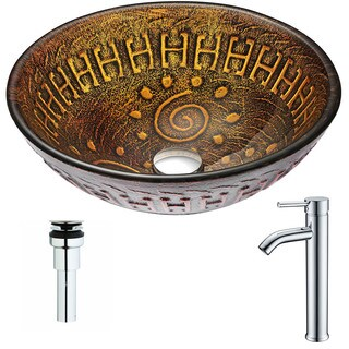 ANZZI Opus Series Lustrous Brown Deco-Glass Vessel Sink with Fann Chrome Faucet
