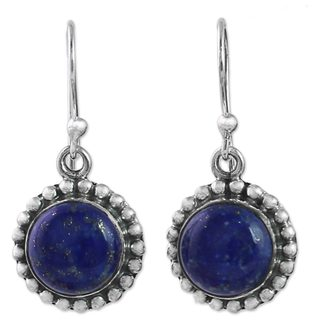 Handcrafted Sterling Silver 'Deep Blue Majesty' Lapis Lazuli Earrings (India)