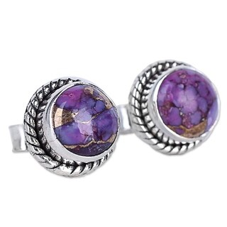 Handmade Sterling Silver 'Purple Radiance' Turquoise Earrings (India)