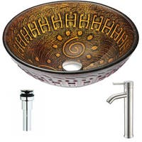 ANZZI Opus Series Lustrous Brown Deco-Glass Vessel Sink with Fann Polished Chrome Faucet