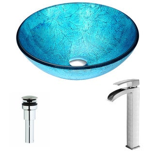 ANZZI Accent Series Emerald Ice Deco-Glass Vessel Sink with Key Brushed Nickel Faucet