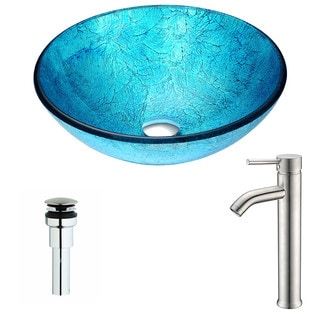 ANZZI Accent Series Emerald Ice Deco-Glass Vessel Sink with Fann Brushed Nickel Faucet