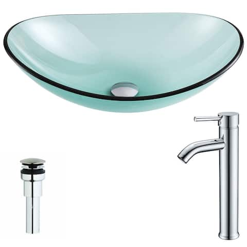 Anzzi Major Series Deco-glass Vessel Sink in Lustrous Green with Fann Faucet in Chrome