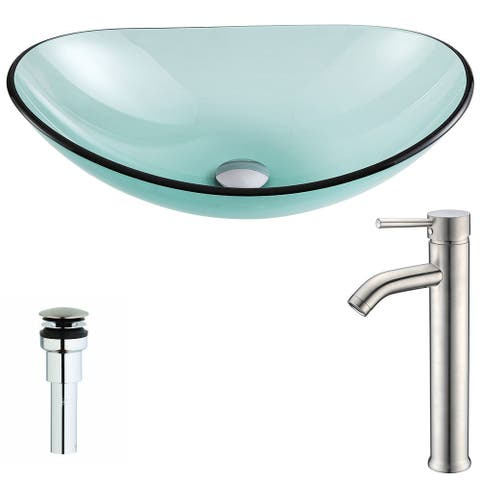 ANZZI Major Series Lustrous Green Deco-Glass Vessel Sink with Fann Brushed Nickel Faucet