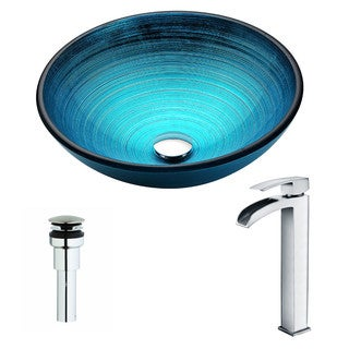 ANZZI Enti Series Lustrous Blue Deco-Glass Vessel Sink with Key Polished Chrome Faucet