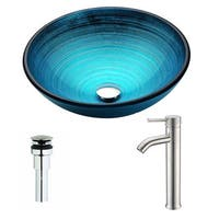 ANZZI Enti Series Lustrous Blue Deco-Glass Vessel Sink with Fann Brushed Nickel Faucet