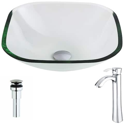 Anzzi Cadenza Series Deco-glass Vessel Sink in Lustrous Clear with Harmony Faucet in Chrome