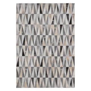Hand-stitched Spikes Cow Hide Leather Grey Rug (8' x 10')
