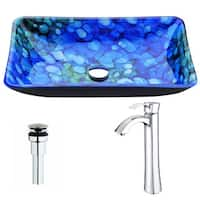 ANZZI Voce Series Lustrous Blue Deco-Glass Vessel Sink with Harmony Chrome Faucet